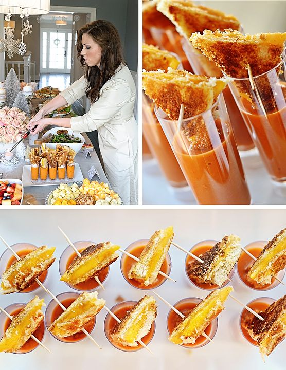 tomato soup and grilled cheese shooters! Yum we had these at our wedding ; )
