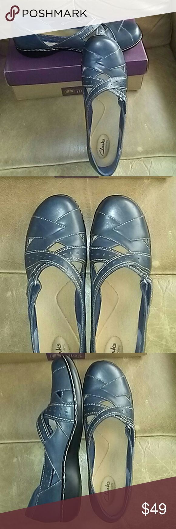 NIB Clarks navy leather 12M flat shoes NIB Clarks navy flat shoes. Soft and supple. Too small for me. 12M Clarks  Shoes Flats & Loafers