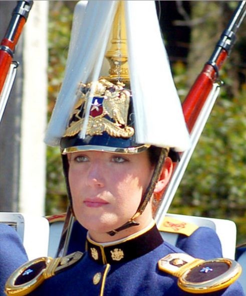 Military woman during a parade.