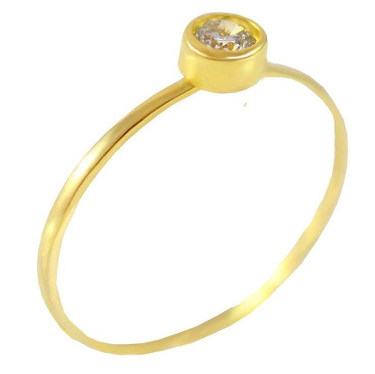 Μ171Ζ- Χρυσό μονόπετρο δαχτυλίδι