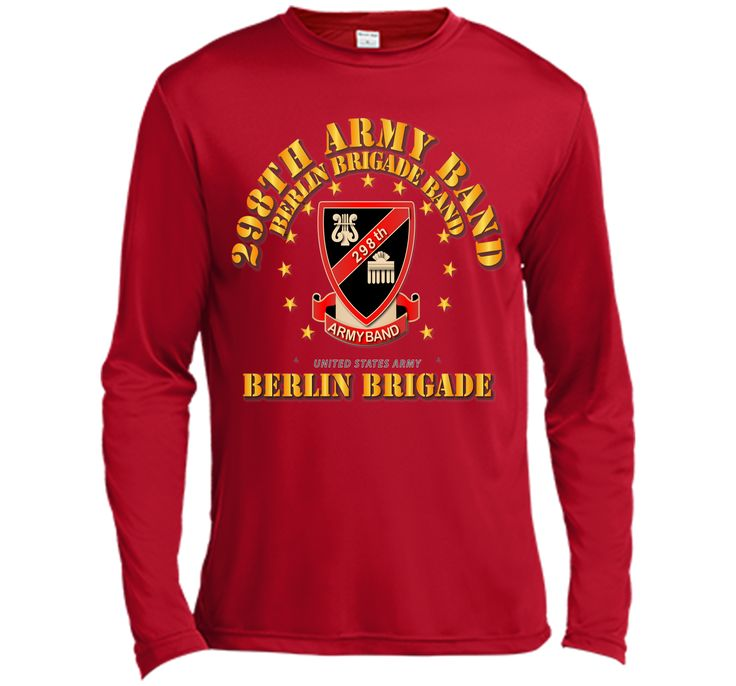 298th Army Band - Berlin Brigade - 75 T-Shirt 100% Cotton. Imported. Machine wash cold with like colors, dry low heat. Lightweight, Classic fit, Double-needle sleeve and bottom hem, Unisex sizing; con