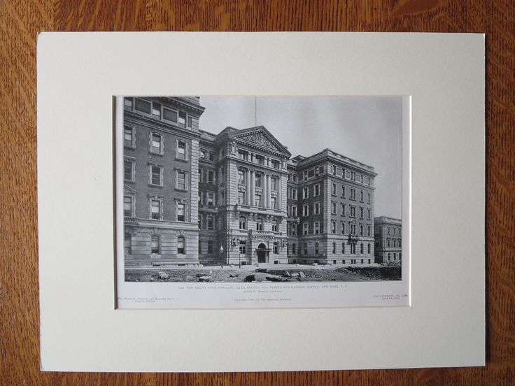 Mt Sinai Hospital, 5th Ave/Madison Ave, New York, A.W. Brunner, 1905, Lithograph
