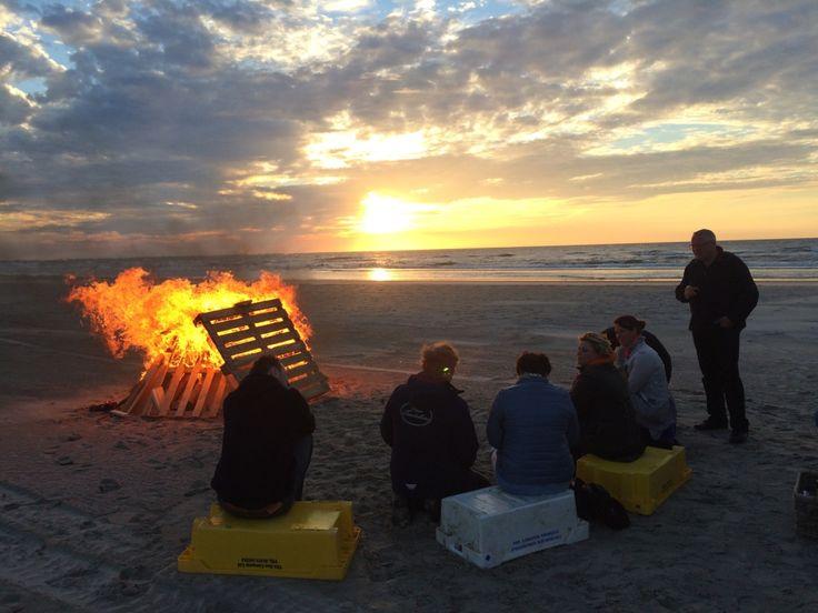 Eiland vergaderen op het noordzee strand van Terschelling