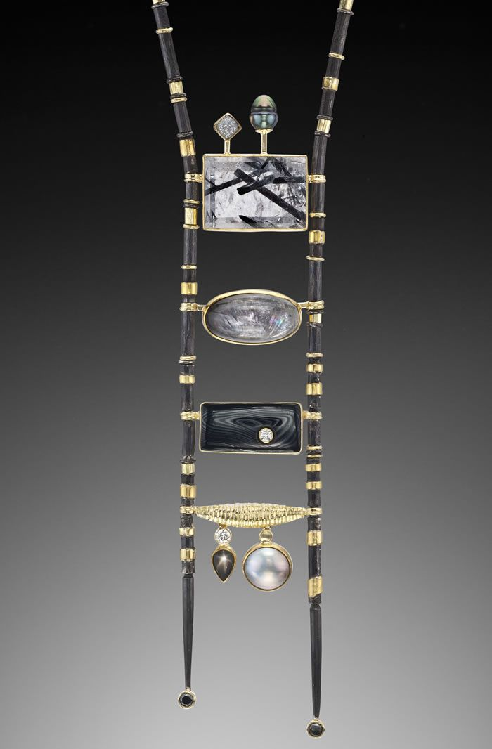 "Necklace   Jeff and Susan Wise. ""Black Ladder"". Oxidized sterling silver, 22k gold, diamond, black Tahitian pearl, Tourmalines, Quartz, Brookite, Psilomelene, Sapphire, Diamond and Mabe pearl."