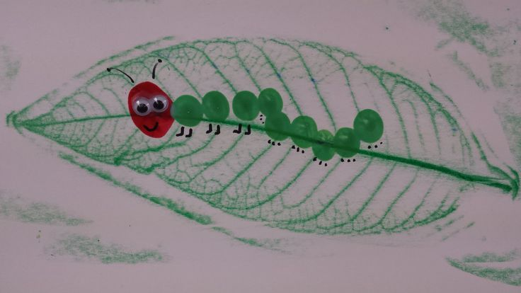 The Very Hungry Caterpillar. Leaf crayon rubbing and fingerprint caterpillar. Add googly eyes, antennae, legs and of course a smile.