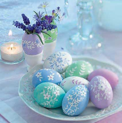 painted pastel eggs - so pretty!  I 'd like to make these using wooden eggs.