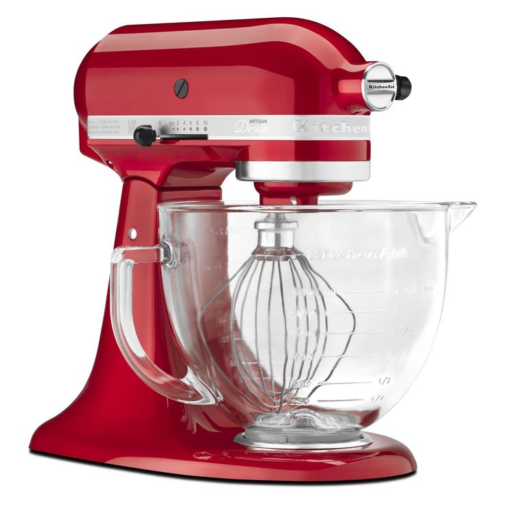 KitchenAid KSM155GBCA Artisan Design Series Stand Mixer with Glass Bowl - Candy Apple Red - KSM155GBCA