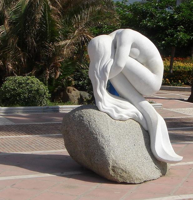 The Mermaid Statue in Puerto Banus, Spain.