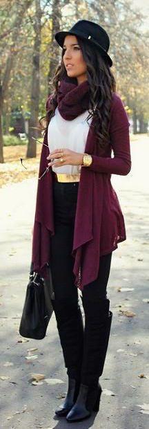 #winter #fashion / burdeos chaqueta de punto bufanda +