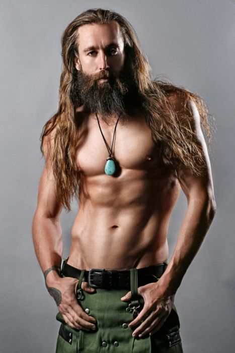 long haired men in kilts or skyclad ~ yee haw! not all men can pull off long hair and full beards but.. this is an exception... especially in a kilt