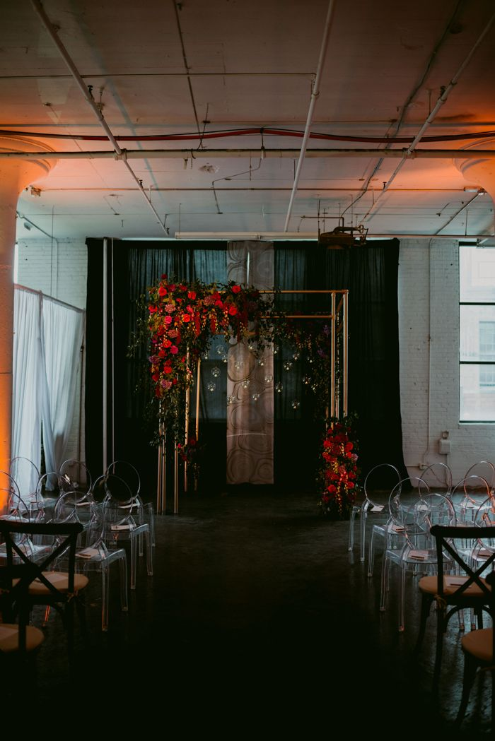 This Romantic Cleveland Wedding at RED Space Brings the Drama || Image by  Mallory + Justin