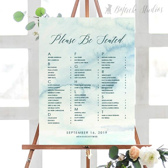 The Hue Collection (SKY) by Bojack Studios - Printed OR Printable Seating Chart Poster for weddings and events.