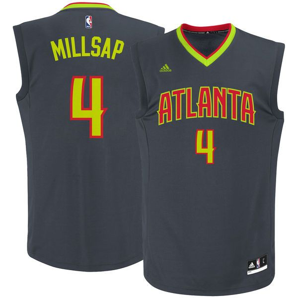 Paul Millsap Atlanta Hawks adidas Road Replica Jersey - Charcoal - $69.99