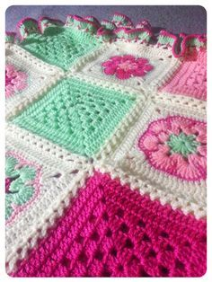 girl grannie squares blankie - love these colours together