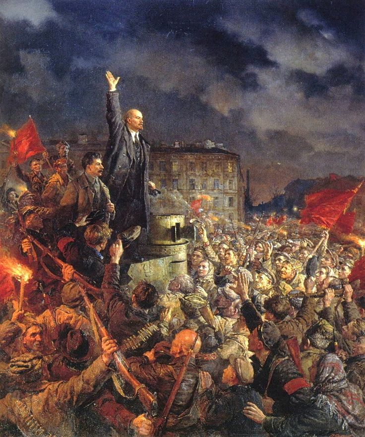 Lenin and Stalin during the October Revolution