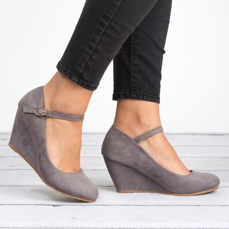 There's no better way to add that final touch of cute and chic to your outfit than with these Mary Jane Wedges! Featuring: Closed round toe front Ankle straps with adjustable buckle closure. Material: Faux Suede Toe shape: Round Heel height/type: 3-inch wedge platform.