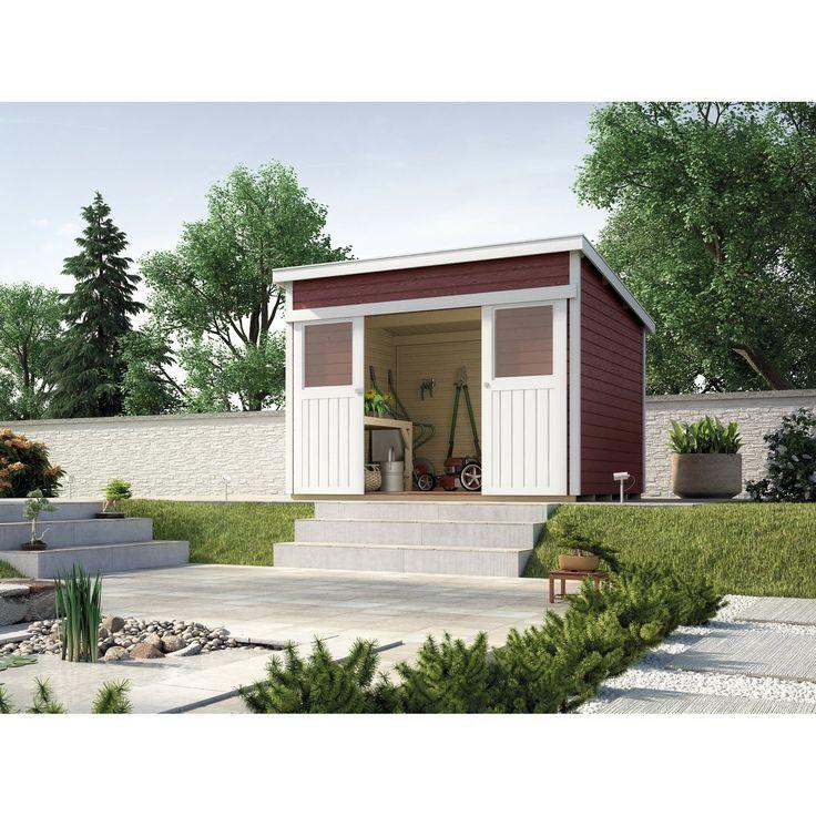Doppel-Schiebetür mit 2 Lichtausschnitten • Farbige Häuser mit Wetterschutzlasur ✓ Weka Schiebetürhaus 225 ➜ Holz-Gartenhäuser jetzt bei OBI kaufen!