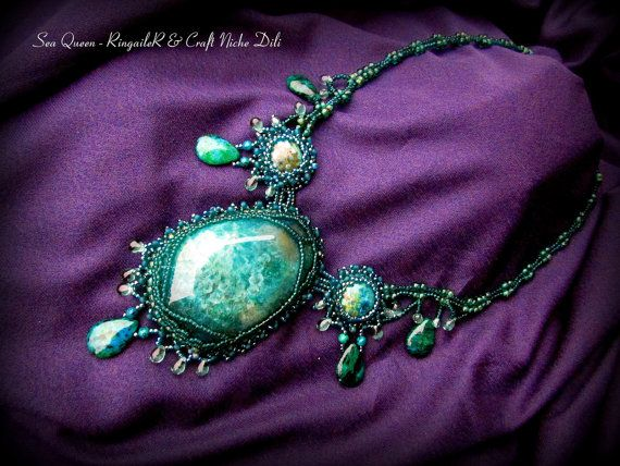 Beaded Necklace Sea Queen  SALE  use coupon by CraftNicheDili