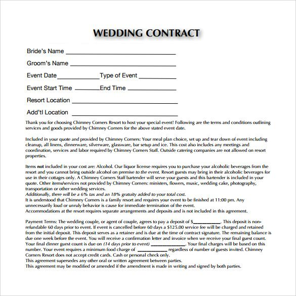 wedding planner contract templates