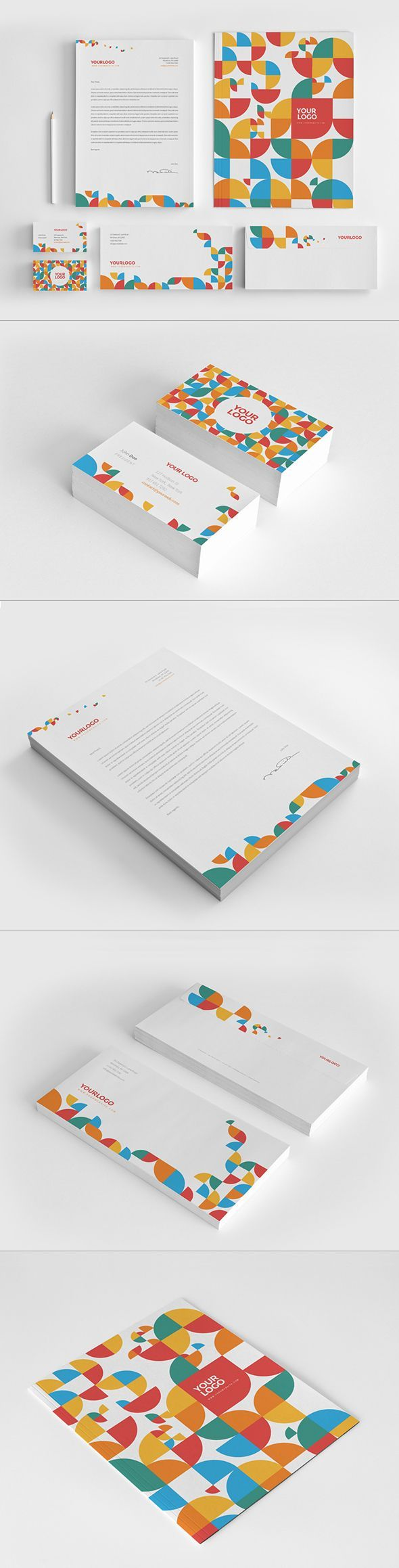 Colorful Circle Pattern Stationery by Abra Design, via Behance