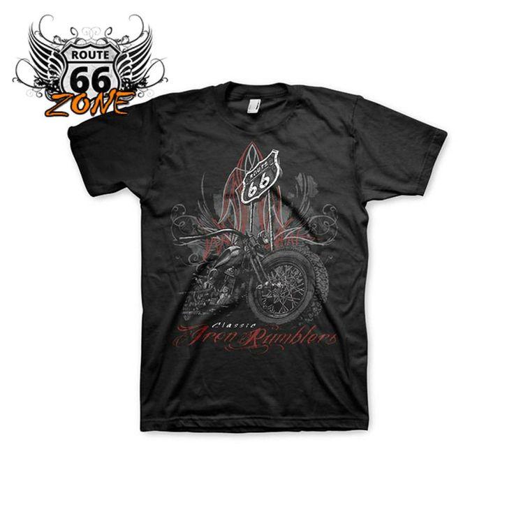 Mens Bikers Iron Rumblers - Route 66 T-Shirt (Black)