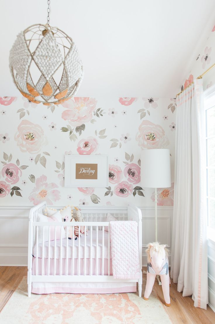 We'll never stop swooning over this gorgeous wallpaper. Dimensions & Details: - Designed by Monika Hibbs - Delicate and subtle floral design - Self adhesive wallpaper allows for paste free application