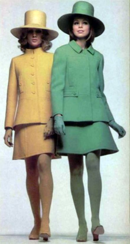 Nina Ricci, L'Officiel Magazine 1968 wool suit dress coat jacket skirt hat tights shoes models magazine designer couture yellow green pastel 60s vintage fashion