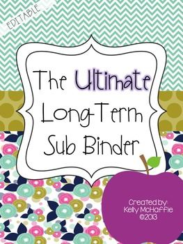 Long-Term Sub Binder EDITABLE! Perfect for maternity leave with 2 cover options and over 100 planning pages