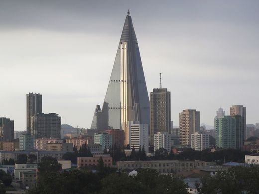 The sky is overcast in Pyongyang July 17, 2017. The