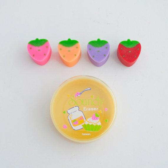 Vintage 80s Deadstock Strawberry Fruit Eraser Set by GingerRootVintage on Etsy. Cute kawaii vintage erasers strawberries. 1980s school days nostalgia.