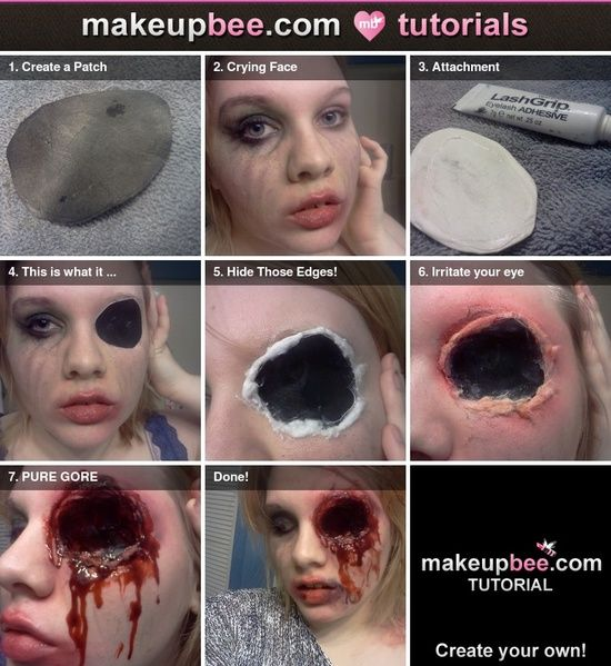 Step-By-Step Tutorial for Missing an Eye. Cause you never know when you'll need to zombify yourself for something.