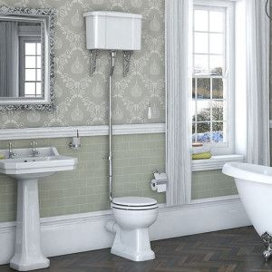 Camberley High Level Toilet Including Luxury White Mdf Soft Close Seat Bathroom Ideas