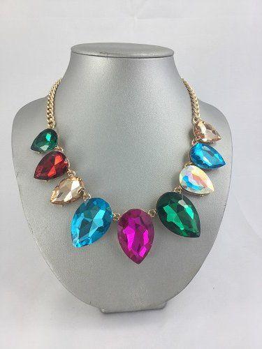 Oversized Rhinstone Crystal Statement Necklace