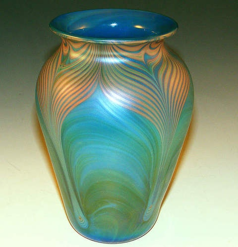 Vintage donald carlson blue green irridescent pulled
