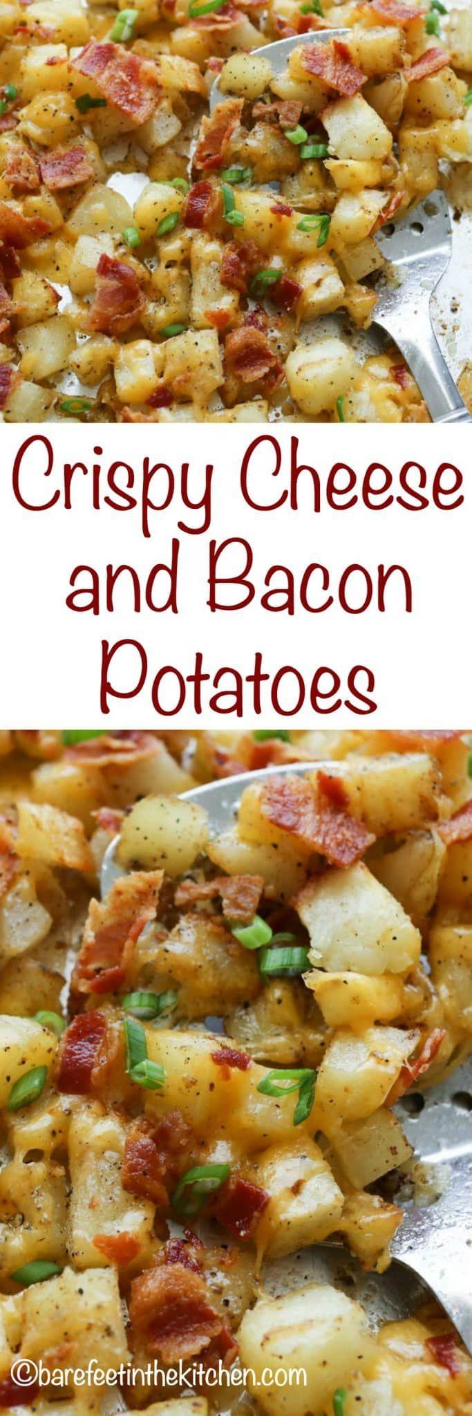 Crispy Cheese and Bacon Potatoes Potato Sides, Potato Side Dishes, Potato Meals, Baby Potato Recipes, Breakfast Casserole, Breakfast Recipes, Breakfast Ideas, Eat Breakfast, Breakfast Healthy
