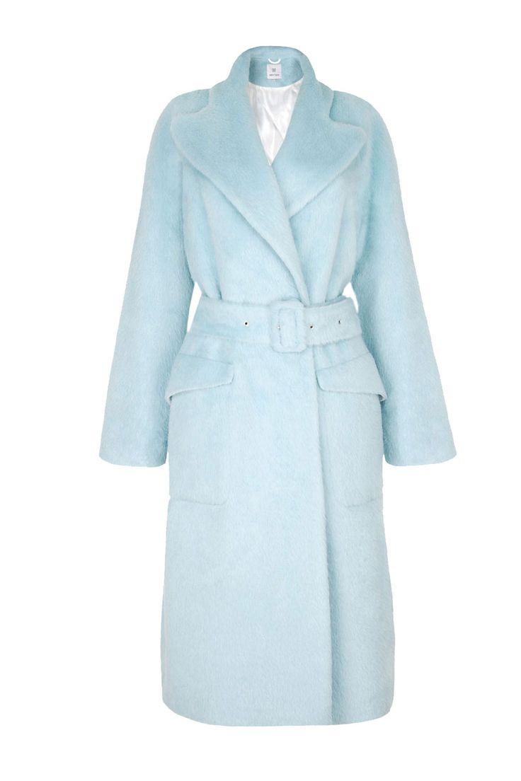 Luksusowy płaszcz z suri alpaki w kolorze pastelowego błękitu