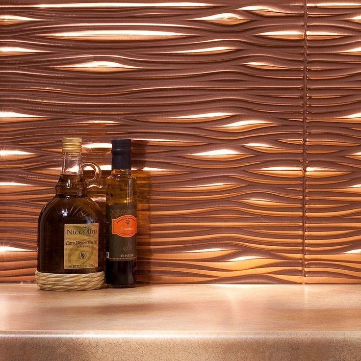 Kitchen Backsplash Kit: Fasade Waves Polished Copper 18-square Foot Backsplash Kit