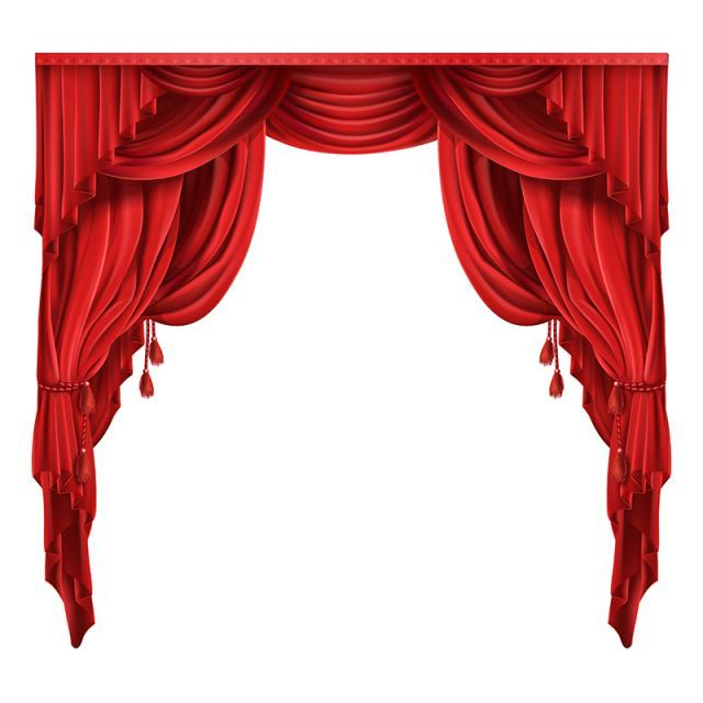 Theater Stage Red Curtains Realistic Vector Red Curtains Stage Curtains Curtain Decor
