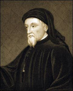 """Geoffrey Chaucer (c. 1343 – 25 October 1400) [""""Canterbury Tales""""] """"Somtyme the world was so stedfast and stable/That mannes word was obligacioun/And now it is so fals and deceivable"""" - Geoffrey Chaucer, Lak of Stedfastnesse Also known as the Father of English literature, greatest English poet of the Middle Ages. First poet buried in Poet's Corner Westminster Abbey. Famous as author, philosopher, alchemist and astronomer."""