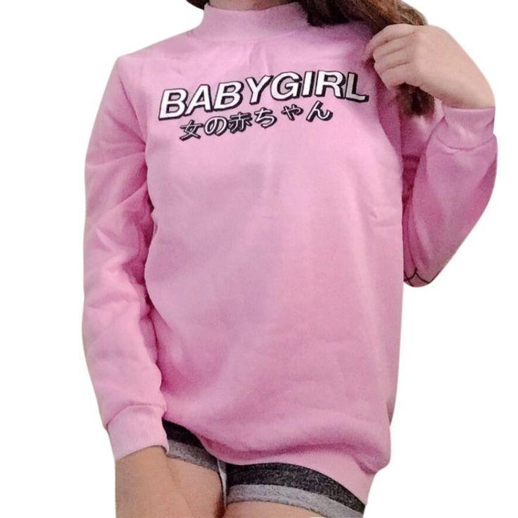 秋の女性パーカー日本女の赤ちゃんプリント原宿トレーナーカジュアル女性トップスシャツ緩いカジュアルピンクブラックパーカー