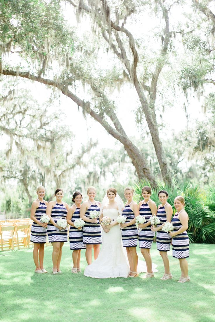 Best 25 striped bridesmaid dresses ideas on pinterest preppy a romantic nautical wedding ombrellifo Images