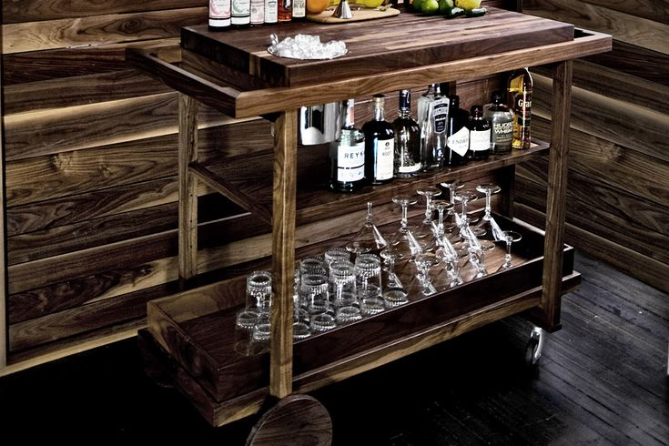 Bar Cart No. One // Building a home bar is the dream of nearly every drinking man, but if you're short on space, the Bar Cart No. One is a reasonable second option. Crafted from New England-sourced black walnut, this simple yet stately cart features a natural oil rubbed finish, a removable top tray, and plenty of storage for liquor, glasses, and tools.
