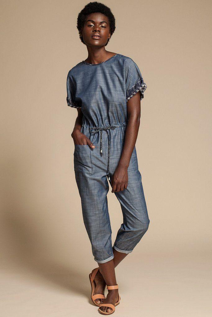 Devotion Jumpsuit by Canadian fashion designer Jennifer Glasgow. Short lightweight denim jumpsuit with drawstring waist. Ethically made in Montreal, Canada.