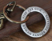 Dad Keychain, Mens Personalized, New Dad Gift Idea, First Fathers Day | Personalize with ANY TEXT up to 35 characters, Handcrafted in USA