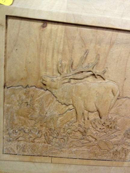 Relief carved elk carving and sculpture carving wood carving