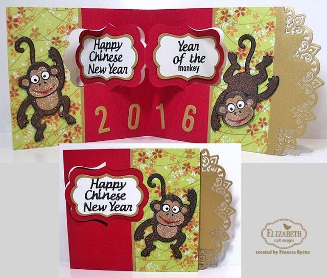 Frances Byrne using the Pop it Ups Katie Label Pivot Card, Paris Edges and Jinks the Monkey die sets by Karen Burniston for Elizabeth Craft Designs. - Karen Burniston February Designer Challenge Day 1