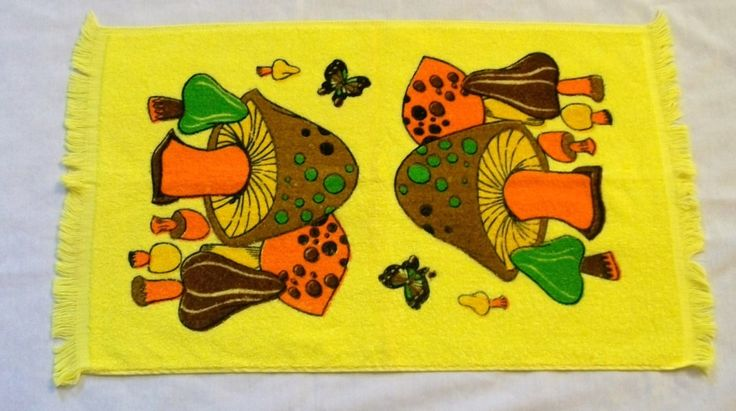 Vintage Cannon Towel, Bright Yellow Towel, Kitchen Towels, Hand Towels, Cannon towels, 1970s, Vintage Kitchen, Mushrooms, Mushroom towel by VintagePlusCrafts on Etsy