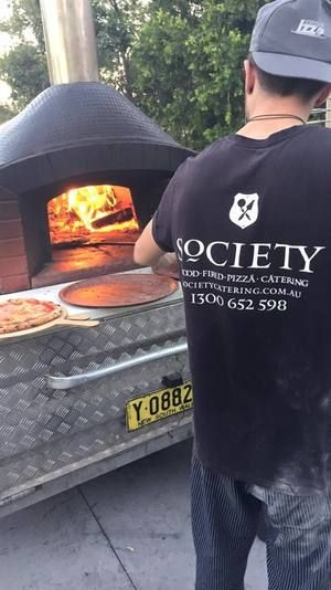 Society Catering - Mobile wood fired oven on a trailer - Valoriani wood fired oven.