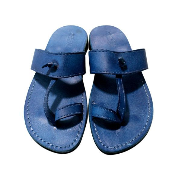 Men's Blue Twizzle Leather Sandals – Handmade Sandals, Sandals Flip Flops, Jesus Sandals, Sandals Sandals, Blue Leather Sandals