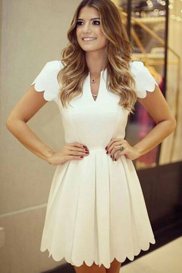 White Sweet Scallop Pleated Skater Dress LAVELIQ
